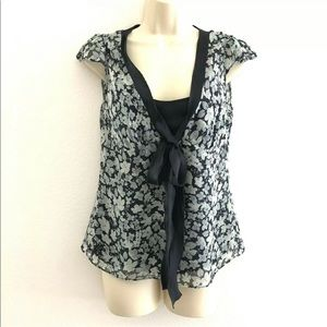Top blouse tie front cap sleeve floral silk cami